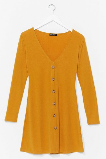 Mustard Long Sleeve Button Down Causal Jersey Mini Dress