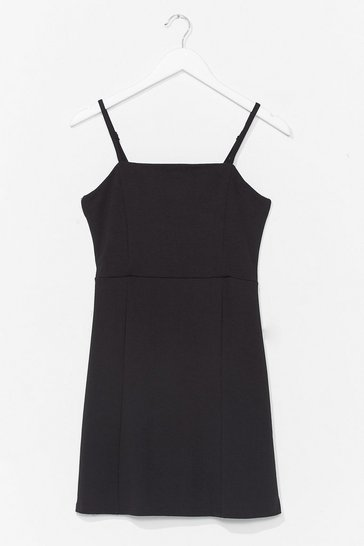Black Square Neck Jersey Mini Dress with Panel Detail