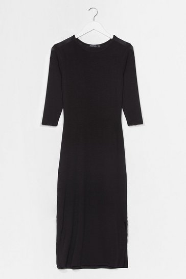 Black Slit Me With Your Best Shot Maxi Tee Dress