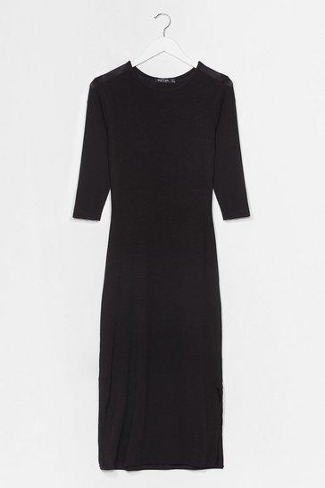 Black Split Hem Maxi Tee Dress