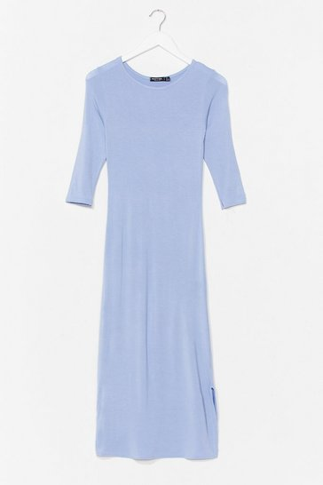 Blue Split Hem Maxi Tee Dress