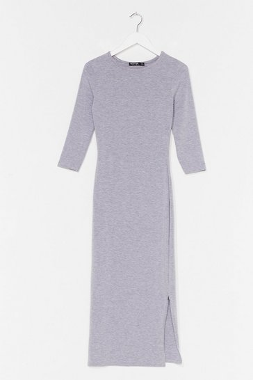 Grey Split Hem Maxi Tee Dress
