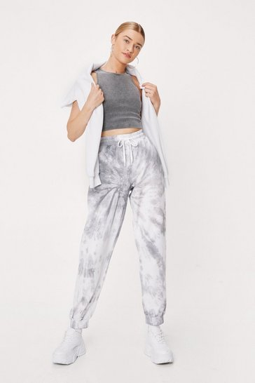 Grey Tie Dye Oversized High Waisted Sweatpants