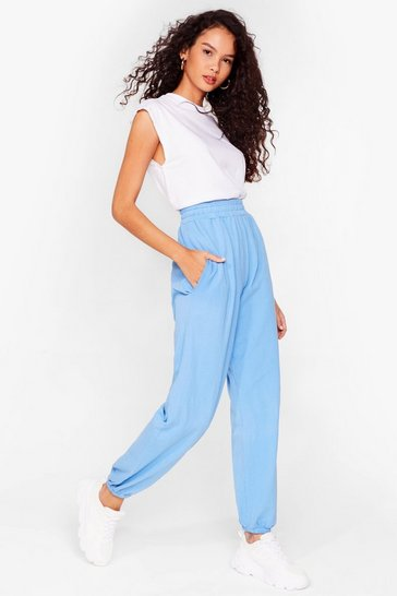 Blue Oversized High Waisted Joggers