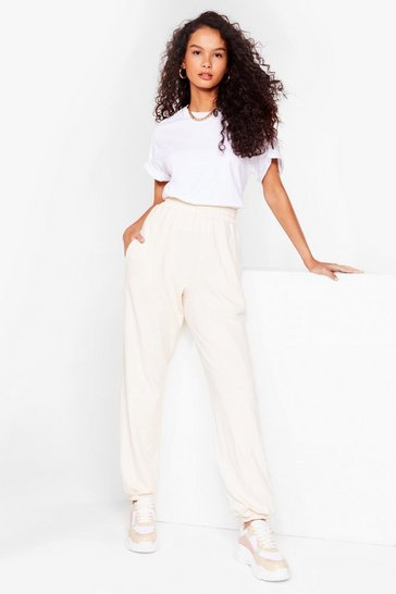 Cream Run It High-Waisted Relaxed Joggers