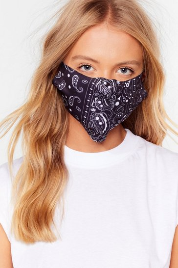 Black Paisley in Love Fashion Face Mask