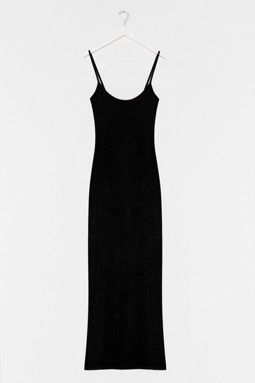 Black Strappy Maxi In Heavy Viscose