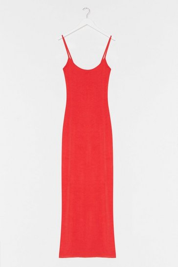 Coral Strappy Maxi In Heavy Viscose