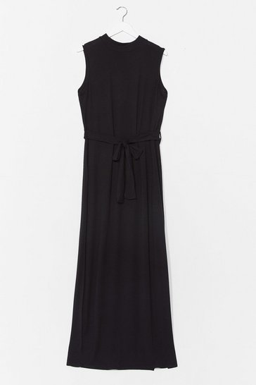 Black Take It to the Maxi Plus Belted Dress