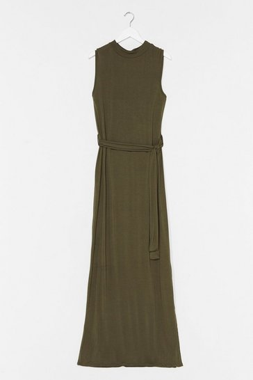 Khaki Take It to the Maxi Plus Belted Dress