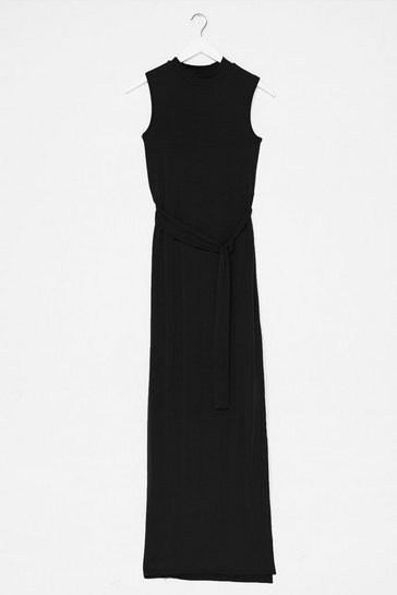 Black Take It to the Maxi Slit Belted Dress