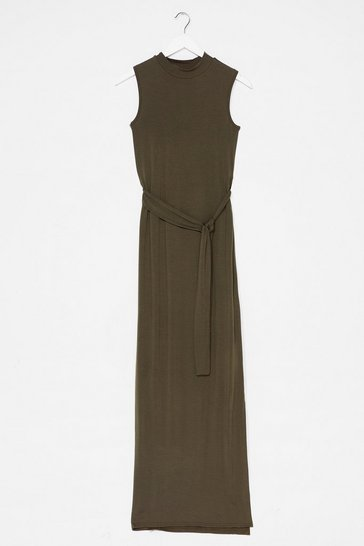Khaki Take It to the Maxi Slit Belted Dress