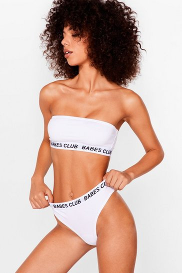 White Badass Babes Club Bandeau Top
