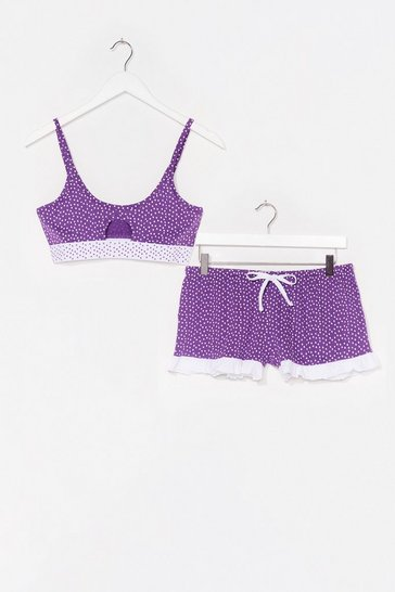 Purple Spot to Get Up Bralette and Shorts Pajama Set