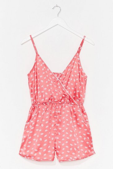 Pink Our Lips Are Sealed Wrap Satin Pajama Romper
