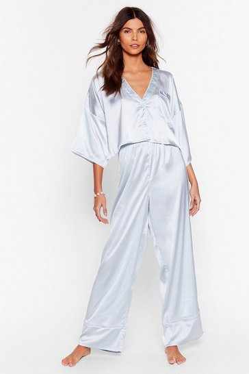 Blue You've Made Your Bed Satin Shorts Pajama Set