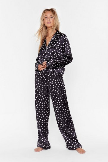 Black Star-t the Party Satin Shirt and Pants Pajama Set