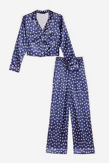 Navy Star-t the Party Satin Shirt and Pants Pajama Set
