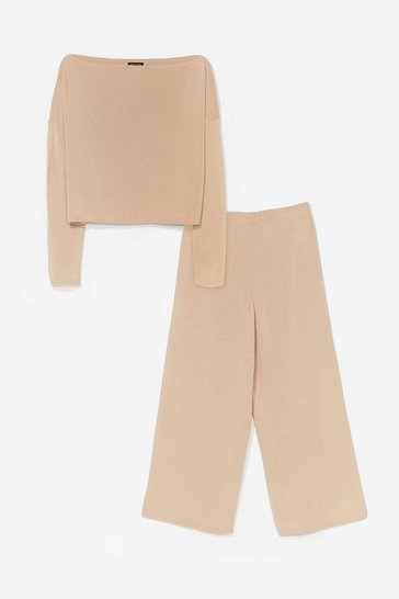 Oatmeal Cropped Wide Leg Trousers Loungewear Set