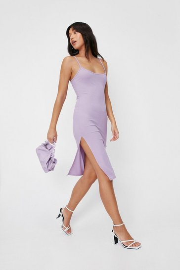 Lilac Square Neck Strappy Slit Midi Dress