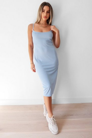 Pale blue Square Neck Strappy Slit Midi Dress