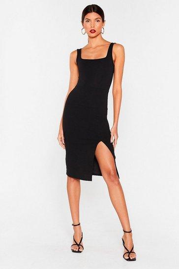 Black Squa rin To Go Midi Dress