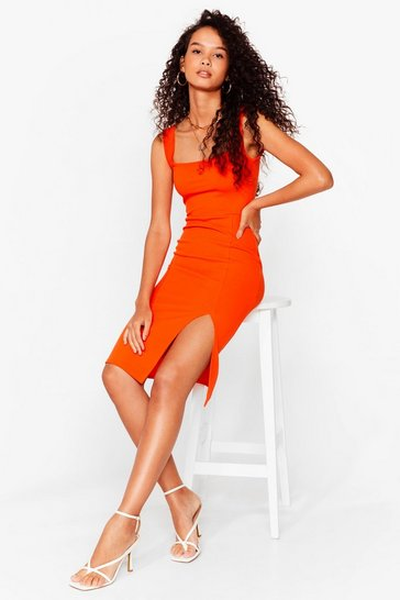 Orange Square Neck Slit Bodycon Midi Dress