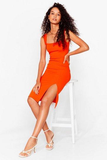 Orange Squa rin To Go Midi Dress