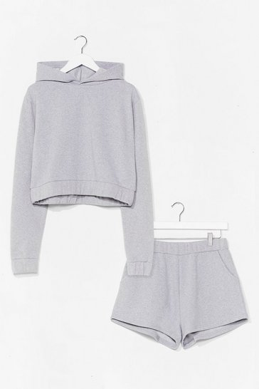Grey Got It Hood Cropped Hoodie and Shorts Set