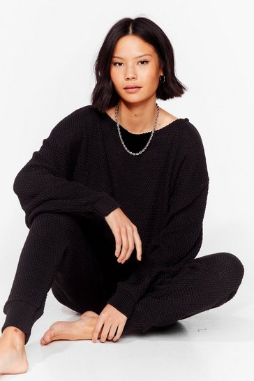 Black Off the Shoulder Knit Sweater and Jogger Set