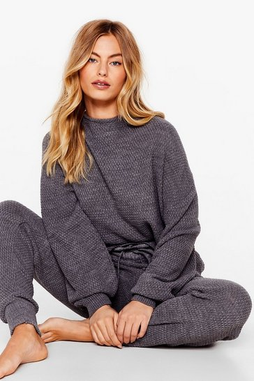 Grey Knit Happens Sweater and Joggers Lounge Set