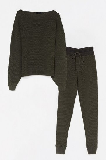 Khaki Knit Happens Sweater and Joggers Lounge Set