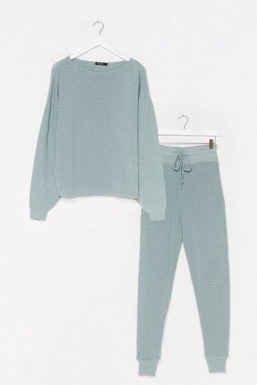 Sage Knit Happens Sweater and Joggers Lounge Set