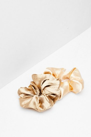 Tie It Up 2-Pc Satin Scrunchies, Beige