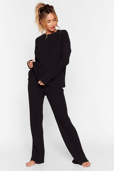 Black Shake Knit Off Sweater and Pants Lounge Set