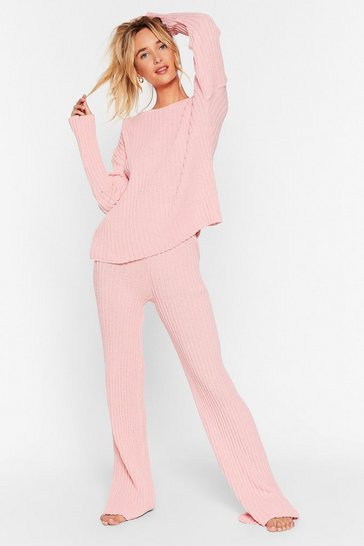 Pastel pink Shake Knit Off Jumper and Pants Lounge Set