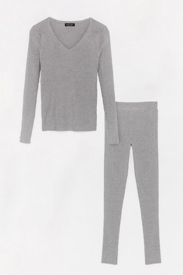 Grey It's Easy Ribbed Knit Leggings Lounge Set