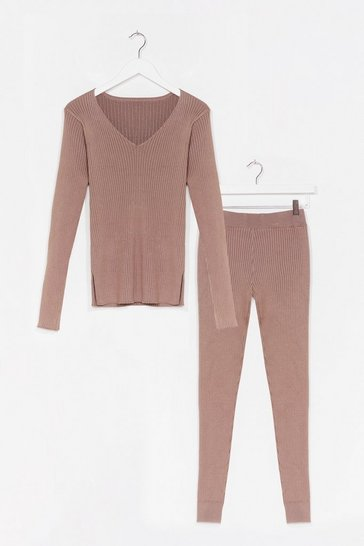 Taupe It's Easy Ribbed Knit Leggings Lounge Set
