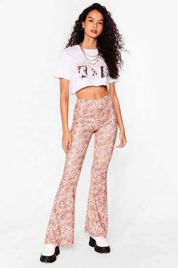 Gold Paisley Close Attention High-Waisted Flare Pants