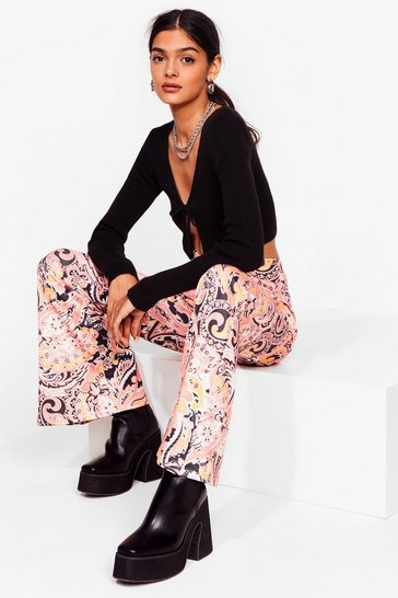 Orange Paisley No Attention High-Waisted Flare Pants