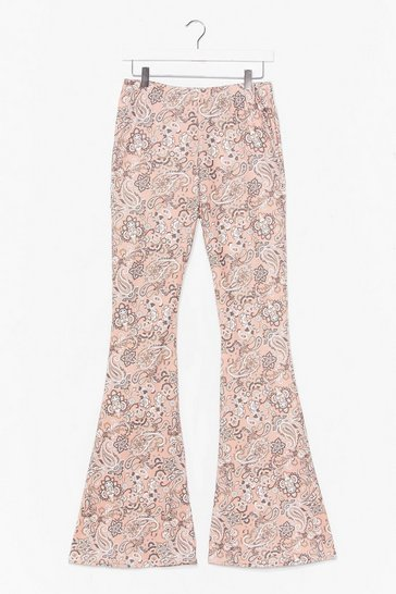 Pink Paisley Close Attention High-Waisted Flare Trousers