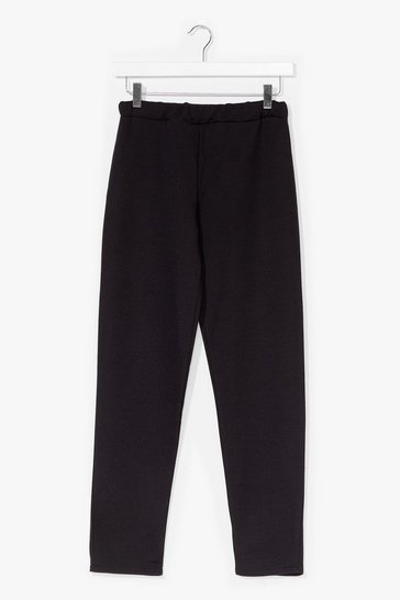 Ivory Slim Fit High Waisted Cropped Jogger Trousers