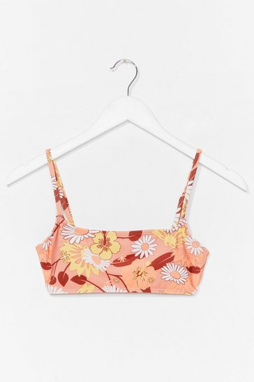 Tan Best Buds Floral Bikini Top