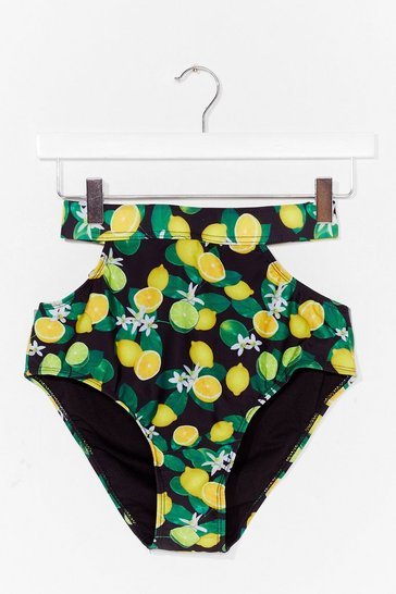 Black Lemon Cut Out Tie Back Bikini Bottoms