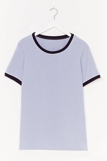 Blue Ringer You Up Plus Contrast Tee