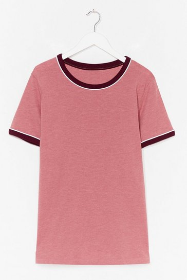 Rose Ringer You Up Plus Contrast Tee