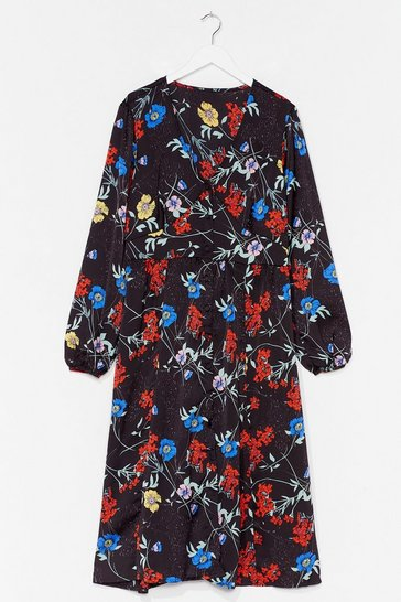 Plus Floral V Neck Midi Dress, Black