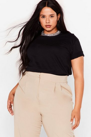 Black Plus Size Crew Neck T-Shirt