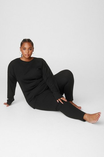 Grande Taille - Ensemble de confort côtelé top & legging Session farniente, Black
