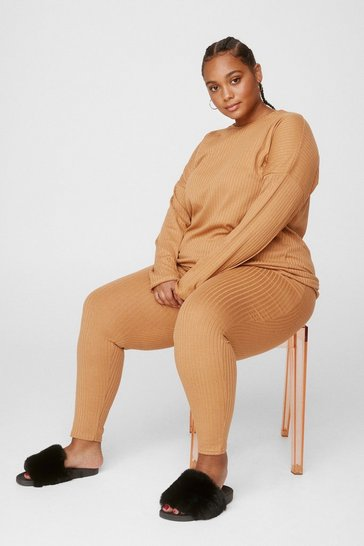 Camel Plus Size Ribbed Legging Loungewear Set